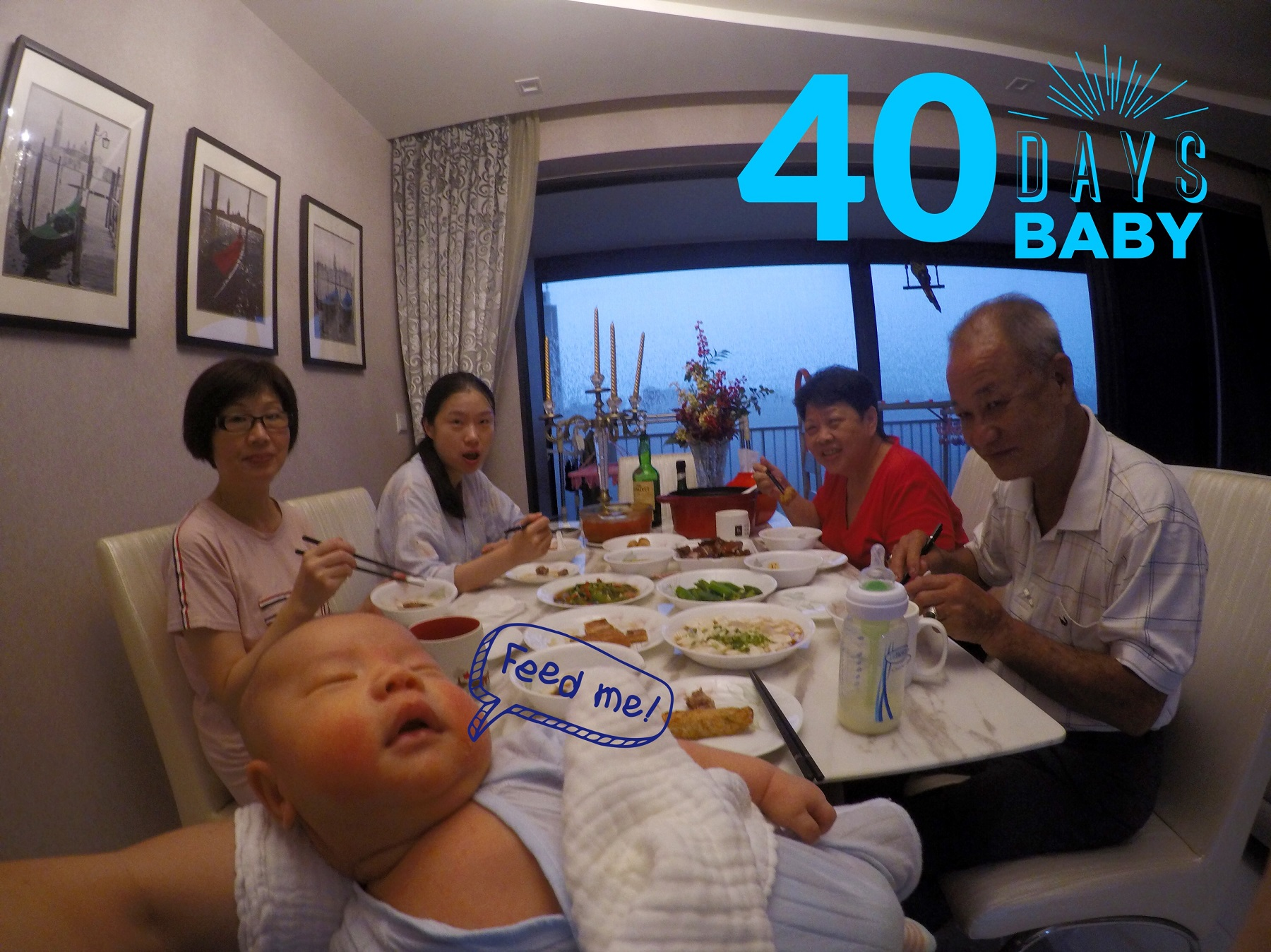 Day 40 Lucas first dinner with 爷爷奶奶!
