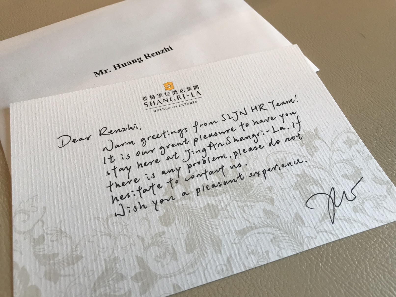 Welcome letter...