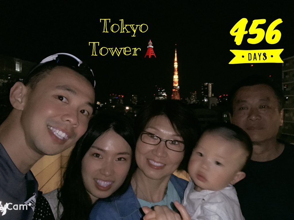 Lucas Day 456! Shopped too much! A night shot with Tokyo tower in the backdrop!