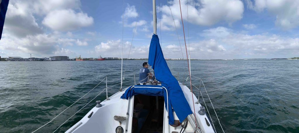 Sailing with Benny, Hui Ching and Riley!