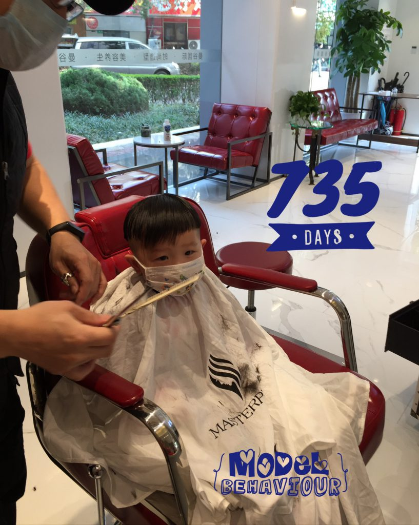 Lucas Day 735! Hair cut with mask on!