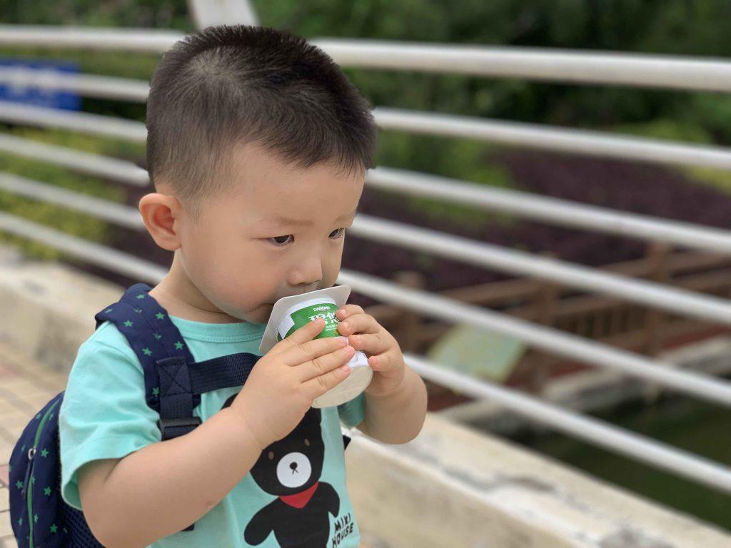 Drinking his favourite Yogurt!