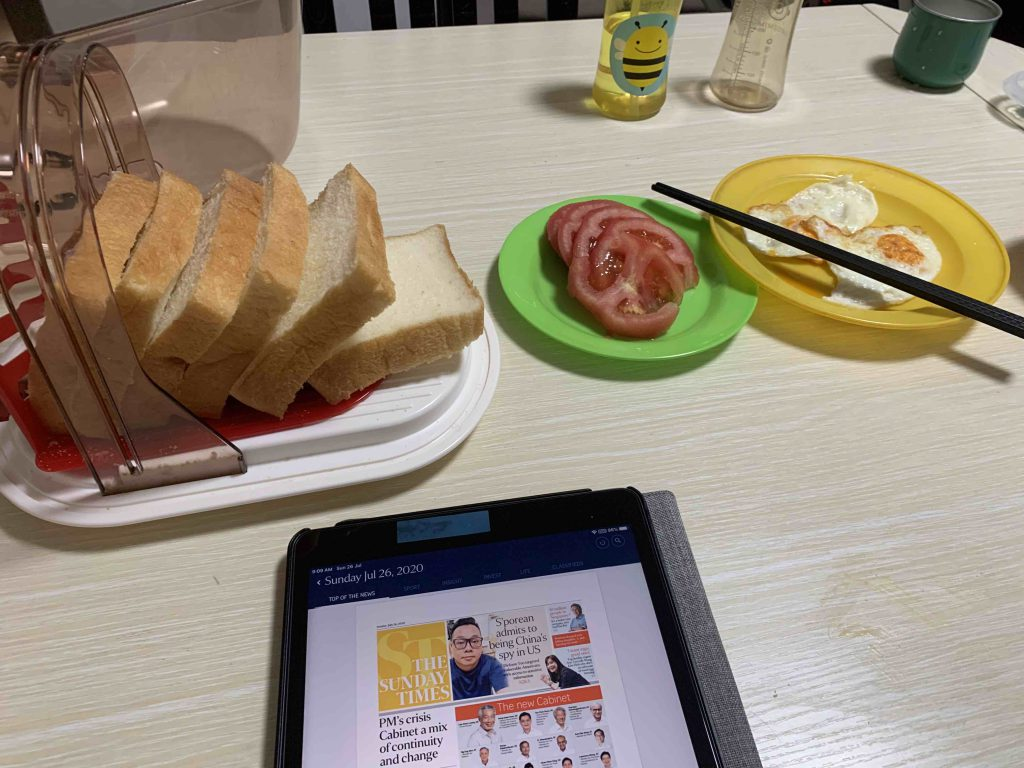 Breakfast and still reading the papers...