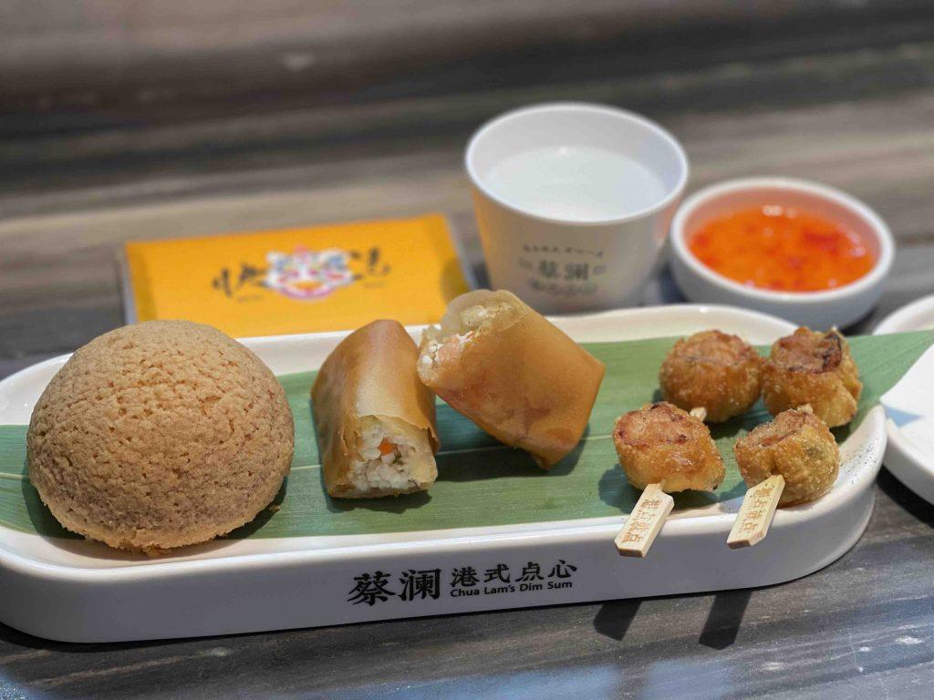 Char Siew Bun, spring roll and fried dumplings...